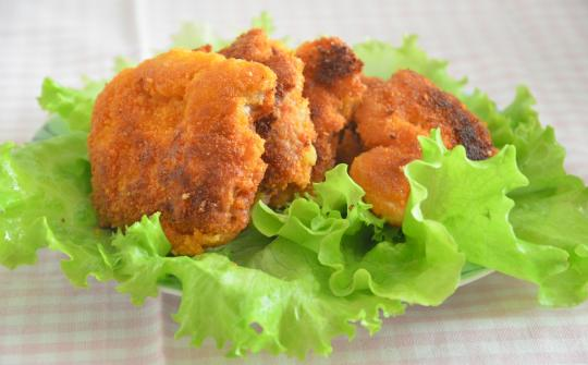 schnitzels from pork in breadcrumbs
